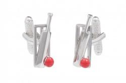 Cricket Wicket Bat and Ball Cufflinks